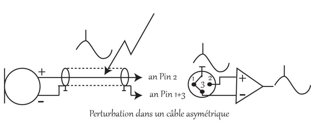 Perturbation dans un câble asymétrique